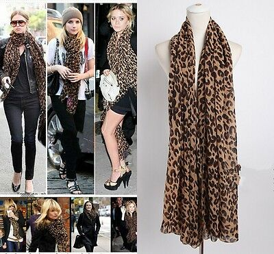 Women Ladies Leopard Print Soft Chiffon Shawl Scarf Long Wrap Stole Scarves New