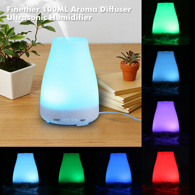 Portable Aroma Diffuser 7LED Ultrasonic Humidifier Purifier Vaporiser Steam Mist