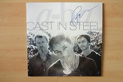 """A-Ha Autogramme signed LP-Cover """"Cast In Steel"""" Vinyl"""