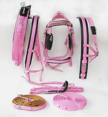 Horse Nylon Popular Driving Harness,black / Pink Color In Full,cob,pony,shetland