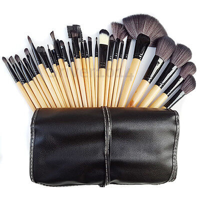 32pcs Professional Soft Eyebrow Shadow Makeup Cosmetic Brush Set Kit+Pouch Bag