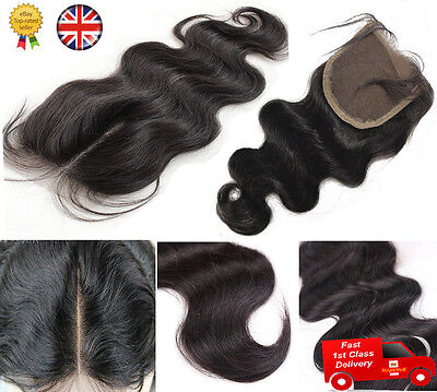 Middle Hair Parting Lace Top Closure 6A Brazilian Remy Human Hair Body Wave 4x4""
