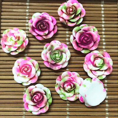 NEW 20pcs Resin Rose Flower flatback Appliques For phone/wedding/crafts BF8