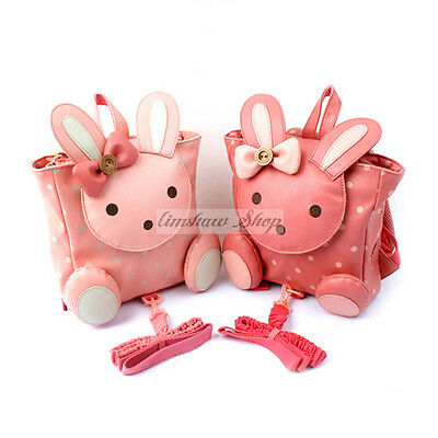 Cute Toddler Safety Harness Leather Backpack with Bow Bunny Head  Baby Girls Bag
