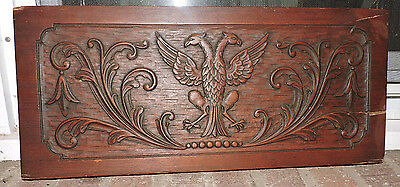 Antique DOUBLE-Headed EAGLE Handcarved WOOD Salvage Furniture Piece c1800s as is
