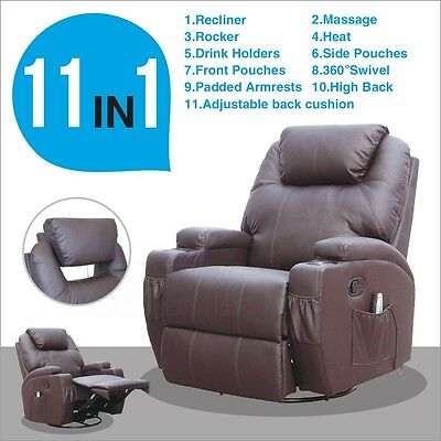 Brown Leather Functional Electric Massage Sofa Chair Recliner Heating Swivel