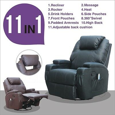 Leather Functional Electric Massage Sofa Chair Recliner Heating Swivel