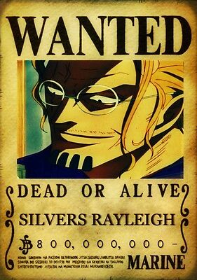 Sticker Autocollant Poster A4 Manga One Piece. Affiche Wanted Silvers Rayleigh.