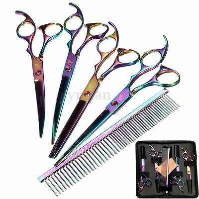 "7"" Professional Pet Dog Cat Grooming Scissors Cutting Curved Thinning Shears Set"