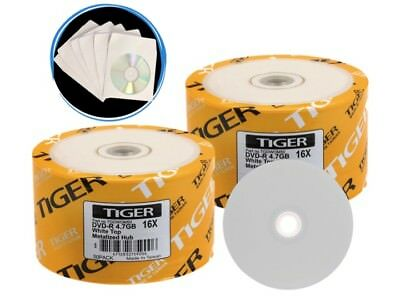 SPECIAL! 100-Pack Tiger 16X White Top DVD-R Blank Disc 4.7GB + 100 Paper Sleeves