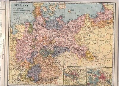1921 Vintage Railroad  MAP GERMANY Hamburg Berlin Inset / FRANCE Southern  DATED
