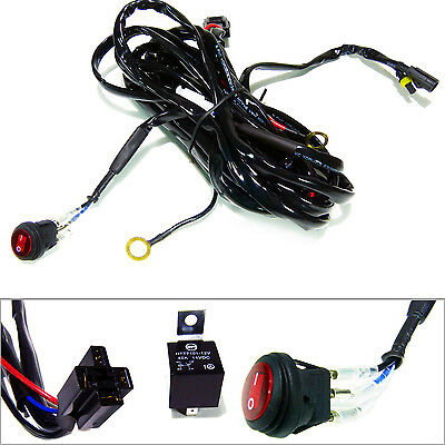 Offroad LED Work Light Bar Wiring Harness Fuse Relay Kit 40Amp 12V ON/OFF Switch