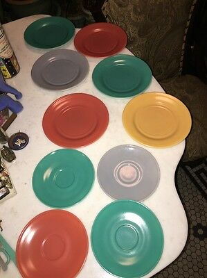 Vtg Lot 10 Colorful Milk Glass Plates Gray Turquoise Yellow Terra Cotta Dishes
