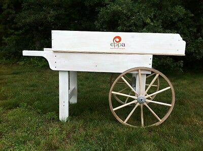 Wooden Produce Cart Natural Wood or Wine Display with Amish wagon wheels