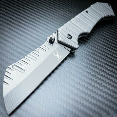 "8"" TITANIUM GREY Cleaver Razor Blade Spring Assisted Pocket Knife - PBK205GY"