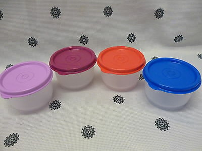 Tupperware Tuppercare Snack Cups Set of 4 Clear Base Pink Purple Red Blue New
