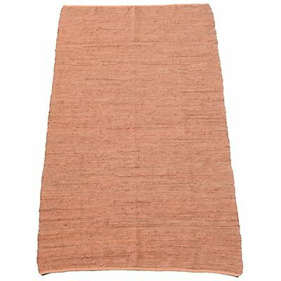 Rust Leather Upcycled Kilim Hand Woven Indoor / Outdoor Kilim Rug