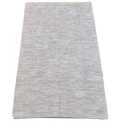 White Leather Upcycled Kilim Hand Woven Indoor / Outdoor Kilim Rug