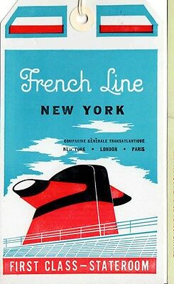 "Vintage CGT FRENCH LINE SS ""France"" 1st Class Baggage Tag NOS"