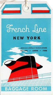 """Vintage CGT FRENCH LINE SS """"France"""" Baggage Room Tag NOS"""