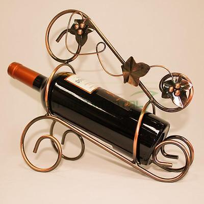 Retro Metal Arts Wine Rack Bottle Holder Handle Home Table Decor Stand Carrier
