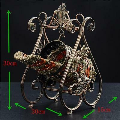 Retro Luxury  Wine Rack Metal Bottle Basket Stand Holder Table Decor Homeware