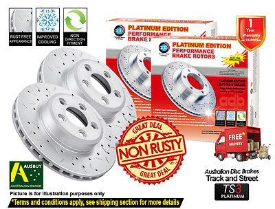 HOLDEN Astra TS ABS 280mm 9/98-12/05 FRONT SLOTTED DRILLED Disc Brake Rotors (2)