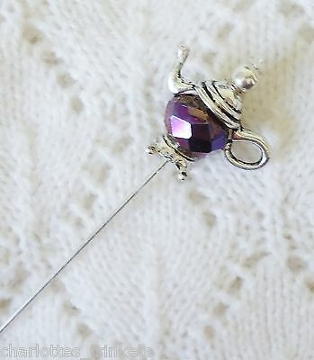 Purple Blue Metalic Teapot HatPin with clutch ~Lapel Hat Brooch Stick Pin