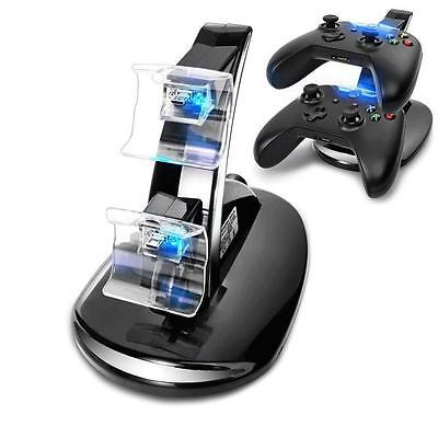 Black Dual Usb Charger Docking Station Charging Stand For Xbox One Controller Cb