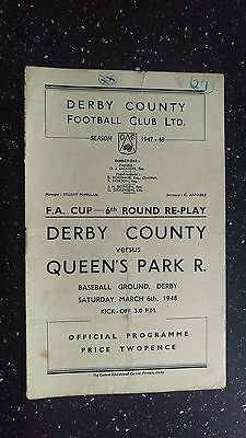 Derby County V Queens Park Rangers 1947-48