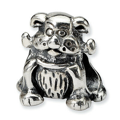 Dog with Bone Bead .925 Sterling Silver Antique Reflection Beads