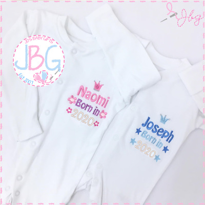 Personalised Baby Sleepsuit/Baby Grow,Embroidered Clothes Gift BORN IN 2018