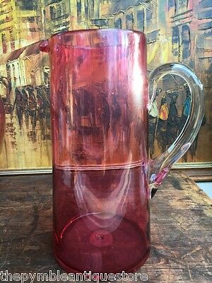 Beautiful Original Antique English Victorian Ruby Glass Jug Pitcher