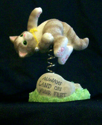 Calico Kittens Tumbling On Springs Figurine 642320 Always Land On Your Feet NIB