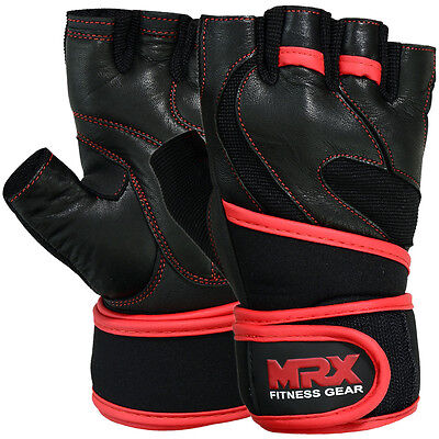 Weight Lifting Gloves Leather Fitness Gym Exercise Training MRX Long Wrist Strap