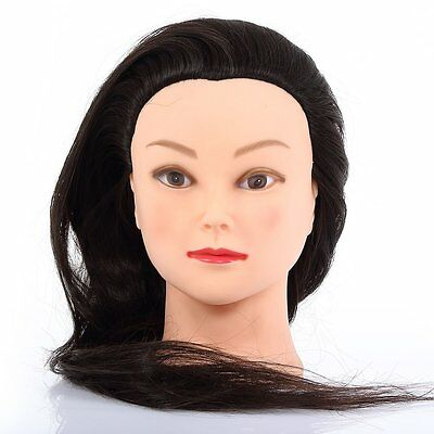 "New 22""Training 20% Human Hair Training Hair Mannequin Doll Make-up Free Clamp"
