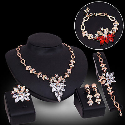 Womens Decent Wedding Jewelry Bracelet Necklace Crystal Statement Ring Earrings