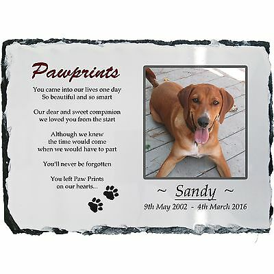 Pet Dog Photo Memorial Slate Plaque - Paw Prints + YOUR Picture- LARGE 20x30cm