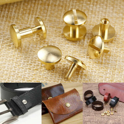 Brass Solid Rivets Belt Screw Stud Head Leather Craft Chicago Nail Wallet Round