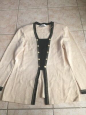 St. John Collection by Marie Gray Cream  withTrim Santana Knit Jacket Size 8