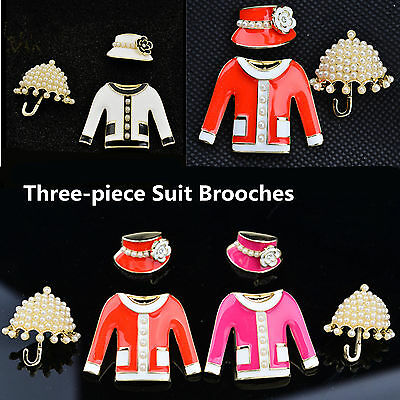 Charm Set Of 3 umbrella/hat/suit Brooches Camellia Flower Pearl Pin Brooch LOT