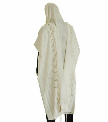 "100% Wool Tallit Prayer Shawl Model Malchut white Size 59"" L X 73"" W"