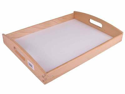 Apollo Rubberwood Food Dinner Serving Tray With White Base 40 x 30 Cm