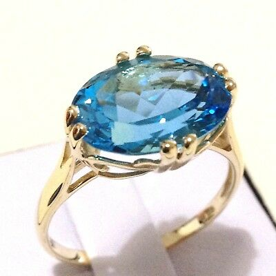 Mom's gift: 9K gold oval Swiss blue topaz ring, genuine gemstone, gift for her