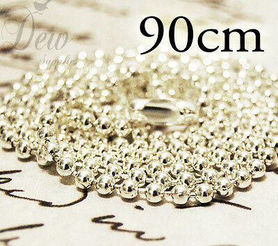 10 x Silver Color Ball Chains 2.4 mm 90 cm long ball chain necklace 35 inches