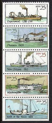Usa 1989 Mnh Paddle Steamers Ex Booklet Stamps