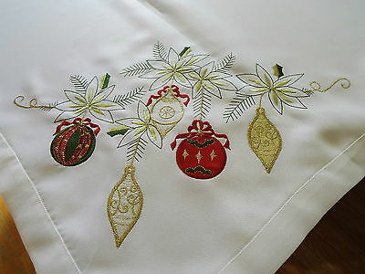 Christmas Ornaments Embroidered TABLECLOTH 60 x 104 by Sam Hedaya Holiday Decor