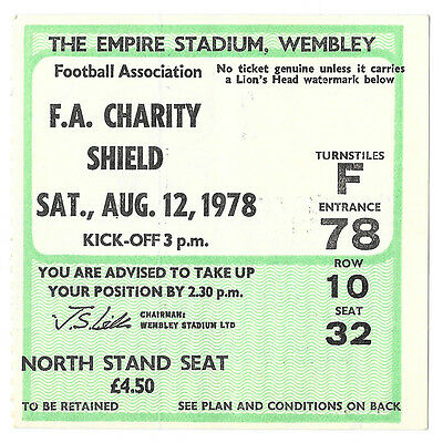 1978 - Nottingham Forest v Ipswich Town, Charity Shield Match Ticket.