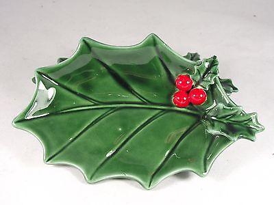 Vintage Lefton 1971/72  Christmas Dish Green Holly #6006 Very Collectible Rare