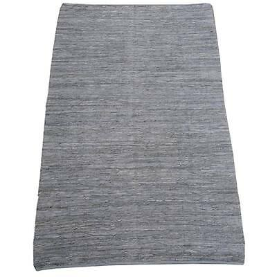 Grey Leather Upcycled Kilim Hand Woven Indoor / Outdoor Kilim Rug